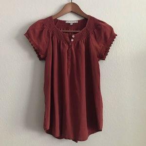 Daniel Rainn 100% Silk Rust Blouse Medium